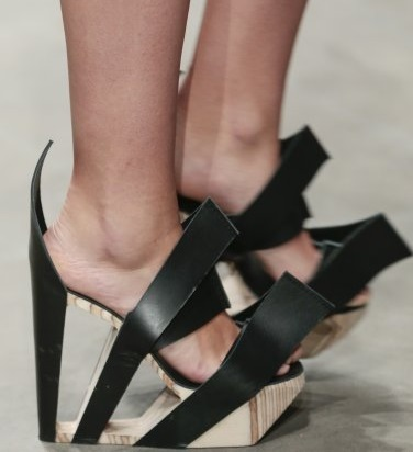 Baiba Ladiga unusual shoes with leather an birch wood materials