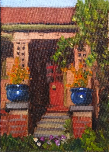 Oil painting of an early 20th century weather board house with lattice work and blue plant pots on brick pillars.