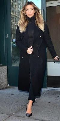Kim Kardashian black coat