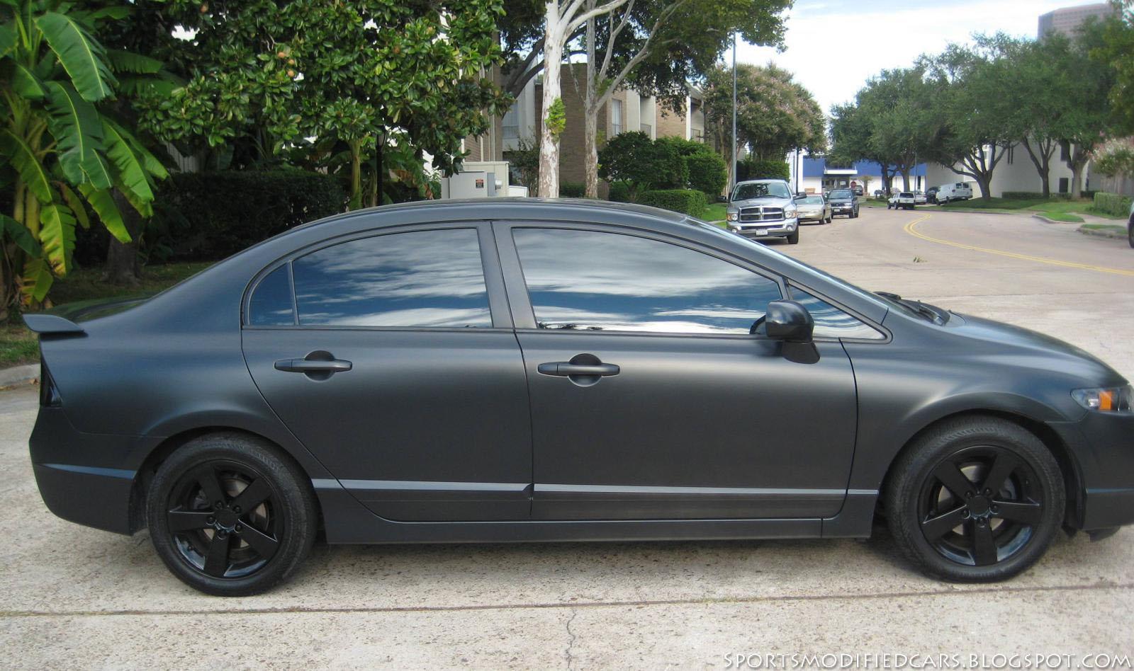 Matte black civic sports modified cars for Honda black car