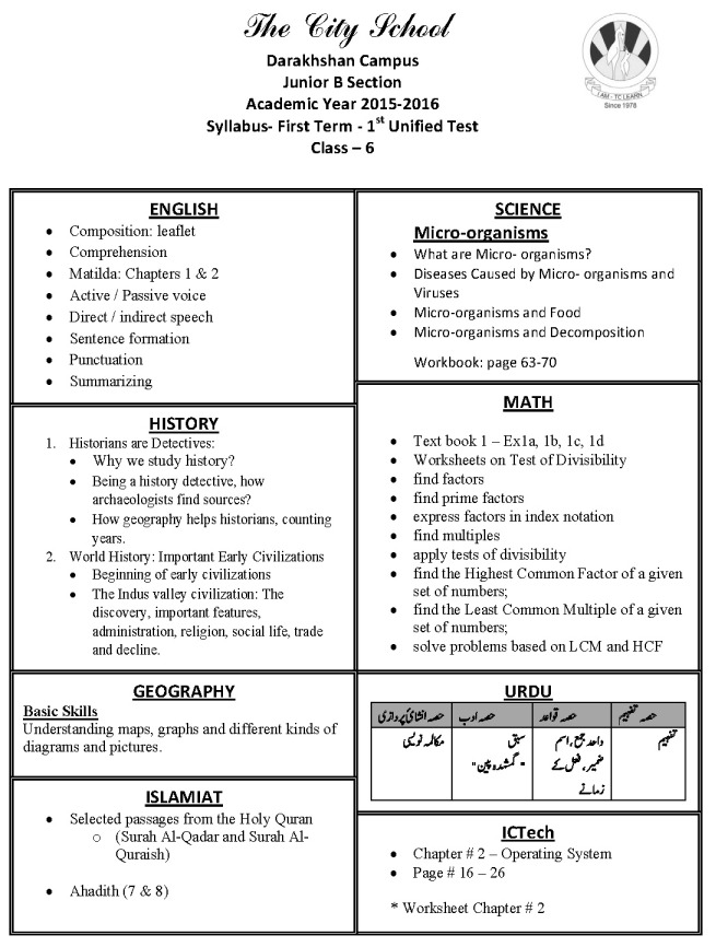 Syllabus Coverage - Class 6 | The City School Darakhshan Campus Prep ...