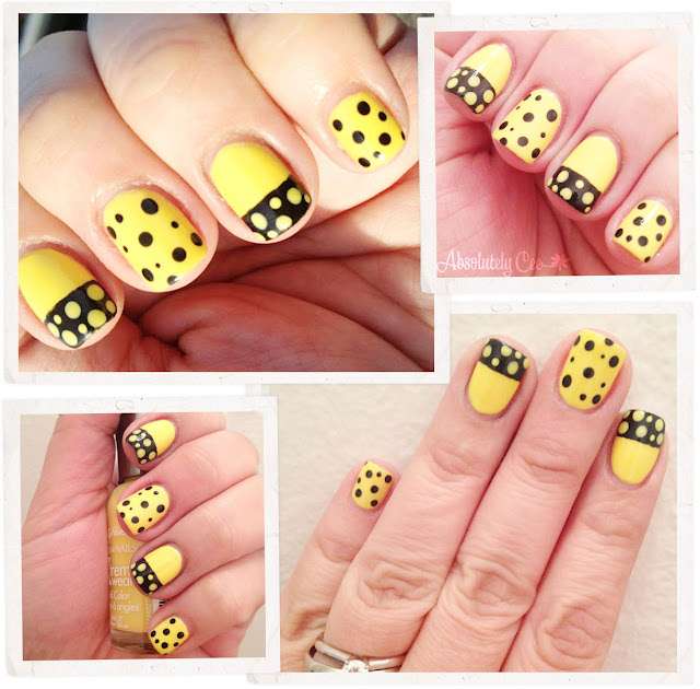 Black and Yellow Dots Nails