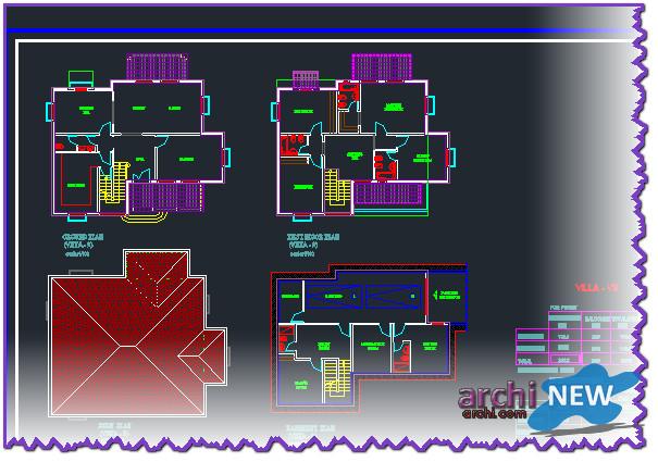 Download autocad dwg file to plan de 15 villas dwg archi for Villa plan dwg