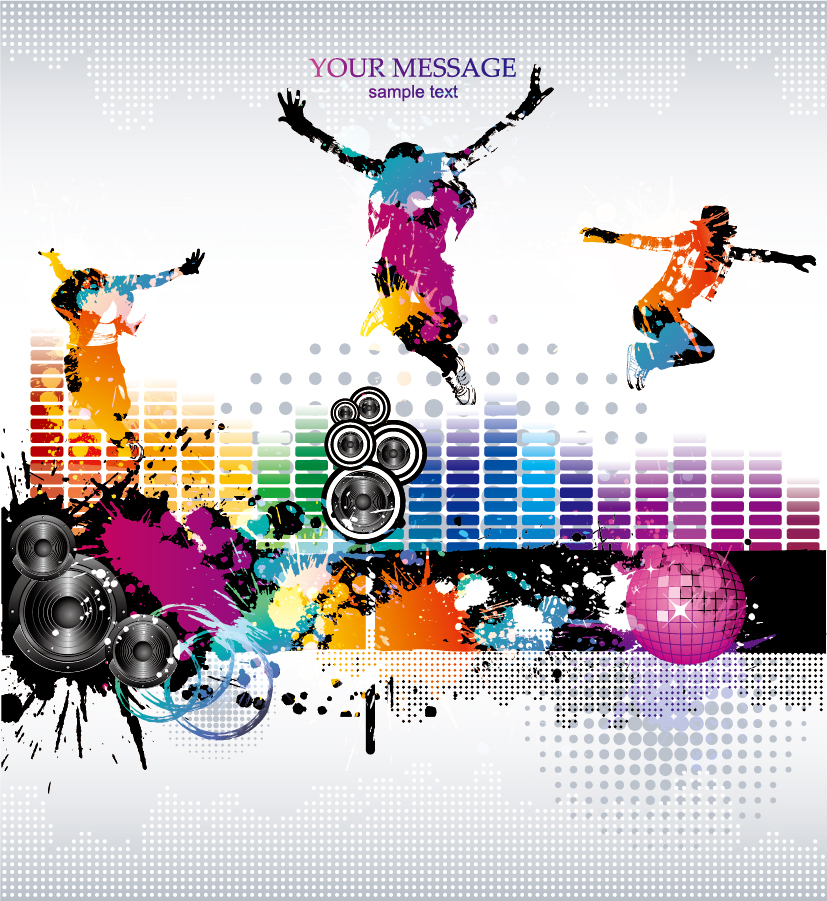 流行の音楽を題材にした背景 music theme vector the trend イラスト素材