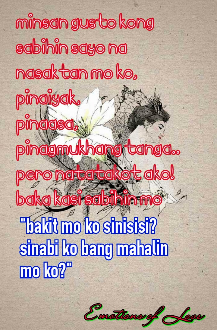 emotions of love tagalog image quote