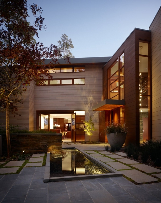 Landscape design at the entrance of Mandeville Canyon Residence