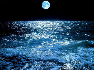 sea,moon,night