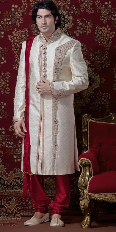 Cream & Maroon Banarsi Cotton Silk Sherwani With Churidar