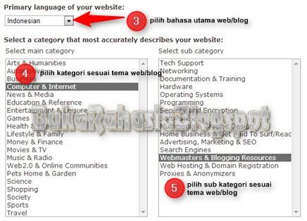 pilih bahasa dan kategori blog/web
