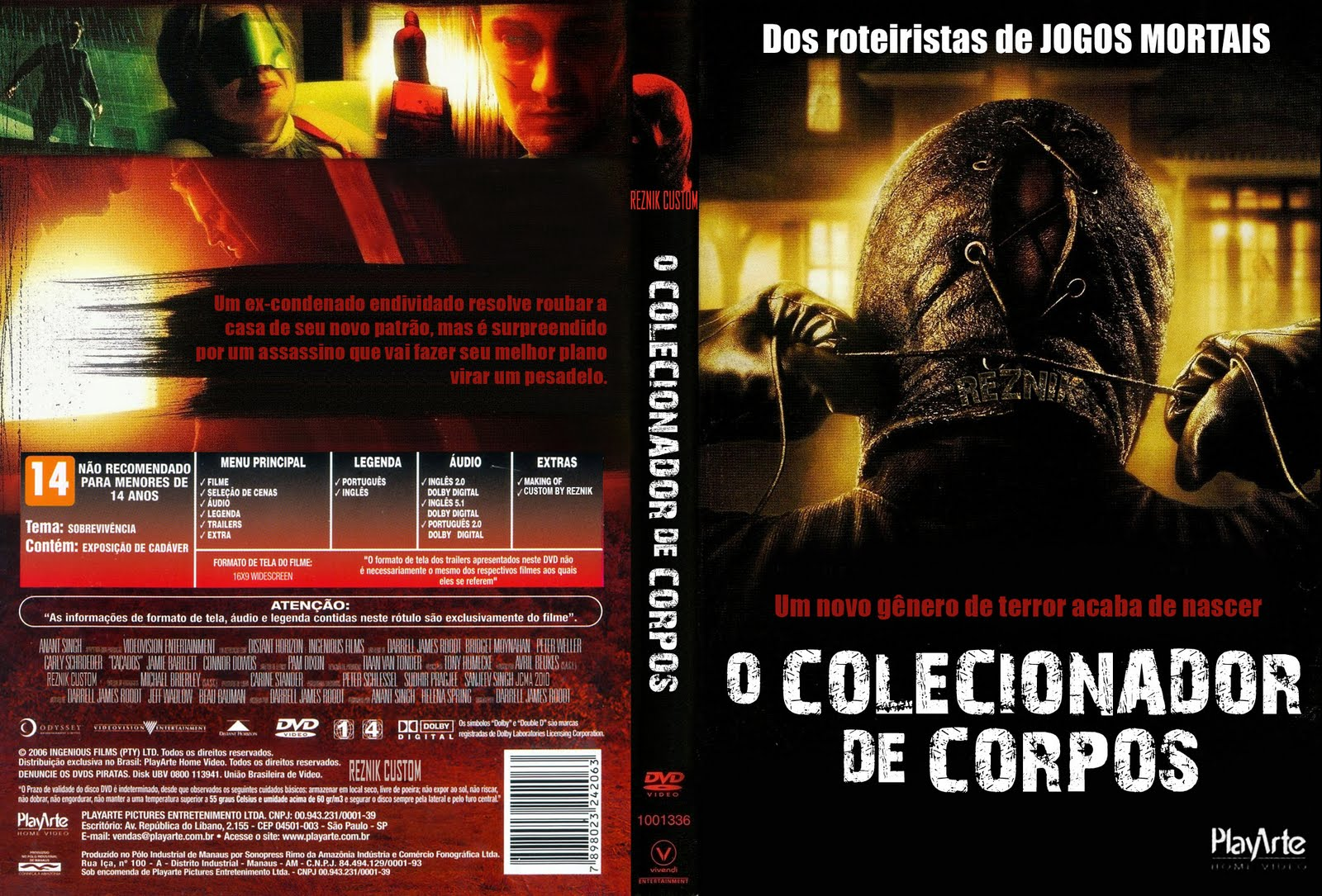 O Colecionador De Corpos DVD Capa