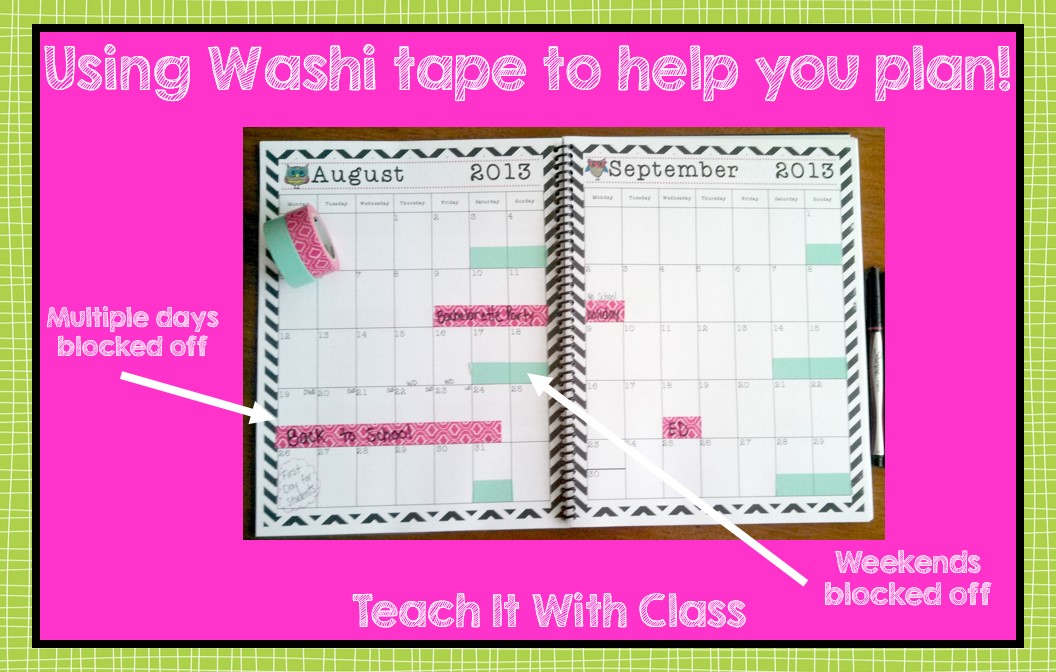 teach it with class using washi tape for planning
