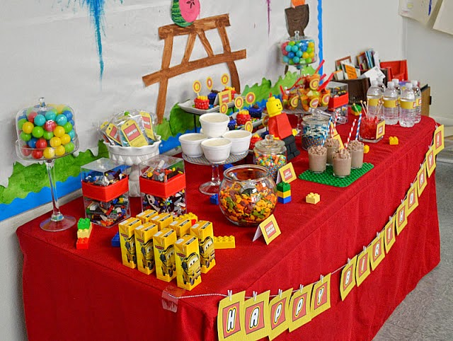 The LEGO Movie watching party ideas table