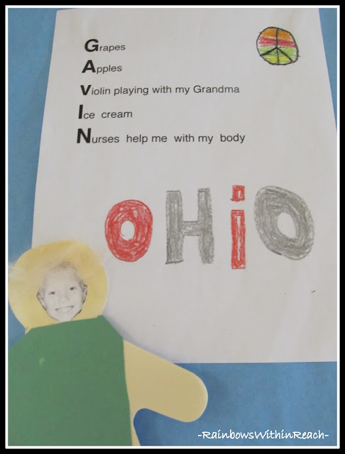photo of: Acrostic Poem with Kindergarten Student's First Name