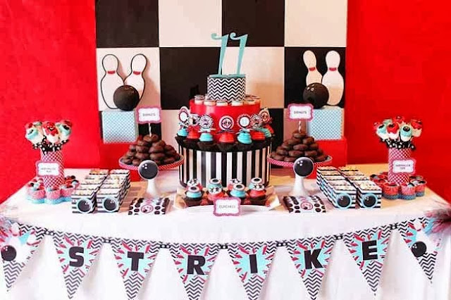 tema festa menino infantil aniversário boliche