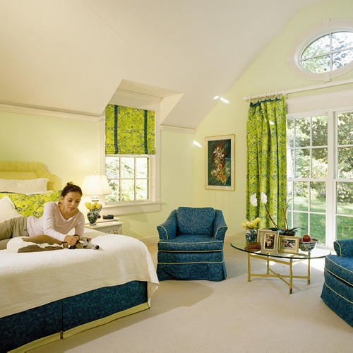 green bedroom windows treatment picture