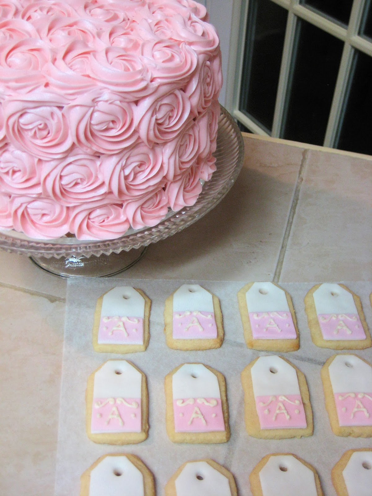 Shabby Chic Pink Rose Cake and Teabag Cookies Together - Close-Up 2