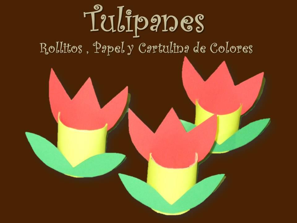 como hacer unos tulipanes de colores con rollos de papel de bao papel y cartulina de colores
