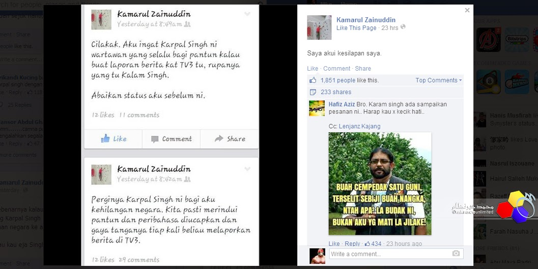 Kamarul Zainuddin Famous in 1 day for just by 1 simple FB posting