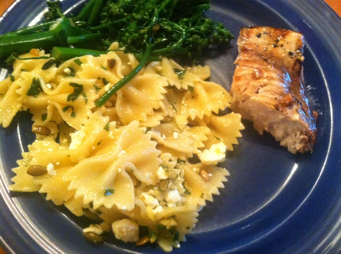 Grilled Swordfish with Garlic Soy Marinade and side of Farfalle with Feta and Chipotle
