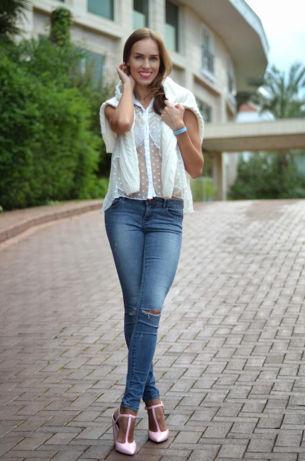 asos-dotted-sheer-blouse-white-zara-ripped-jeans-t-strap-block-heels-pink kristjaana mere