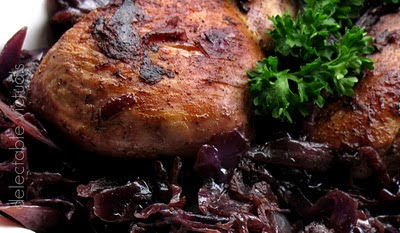 Chicken and Red Cabbage in red wine and gin sauce