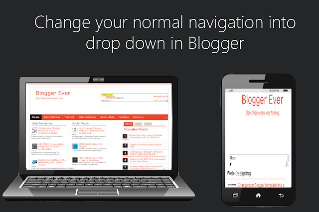 Change the normal pages widget into a responsive dropdown menu in Blogger