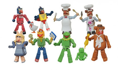 "The Muppets Minimates Series 1 by Diamond Select Toys - Kermit, Miss Piggy, Robin, Fozzie, Scooter, Gonzo, Swedish Chef, ""Stunt Show"" Gonzo & ""Batter Damaged"" Swedish Chef"