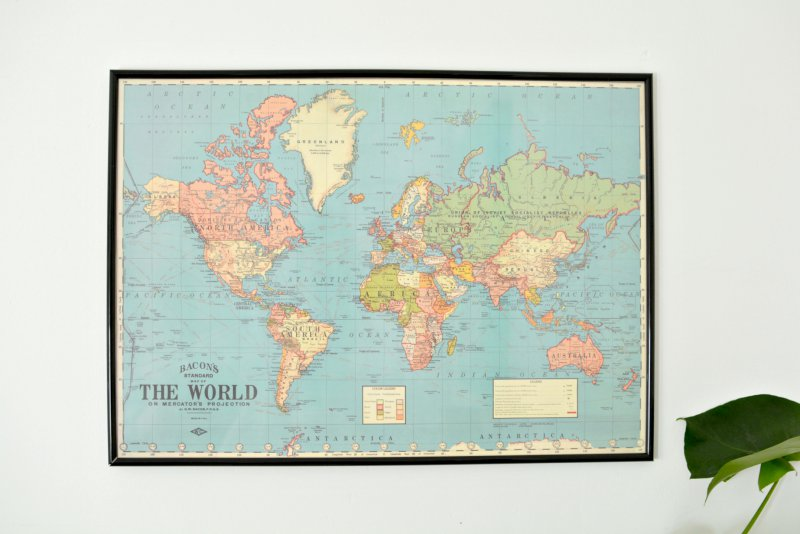 Diy world map wall art burkatron for Diy map wall art