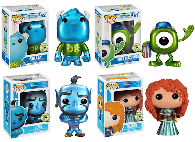 San Diego Comic-Con 2013 Exclusive Metallic Disney Pop! Vinyl Figures by Funko - Monsters University Sulley & Mike Wazowski, Genie & Merida