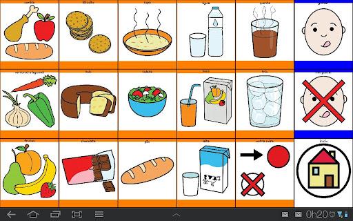 """Descrição da imagem: uma prancha retangular, com 18 quadros distribuidos em três linhas e seis colunas. Nas primeiras, há uma moldura laranja em volta de cada quadro e dentro deles, um alimento como frutas, legumes, bolo, sopa, bolachas, chocolate, agua, café, leite, suco, salada, pão. Na última coluna os quadros tem moldura azul e na primeiro aparece um desenho de um rostinho com de uma criança com a se lambendo como se estivesse faminta. Na outra a mesma imagem mas com um """"X"""" em cima para dizer que a pessoa não está com fome. E no último quadrado, o desenho de uma casa. Fim da descrição."""