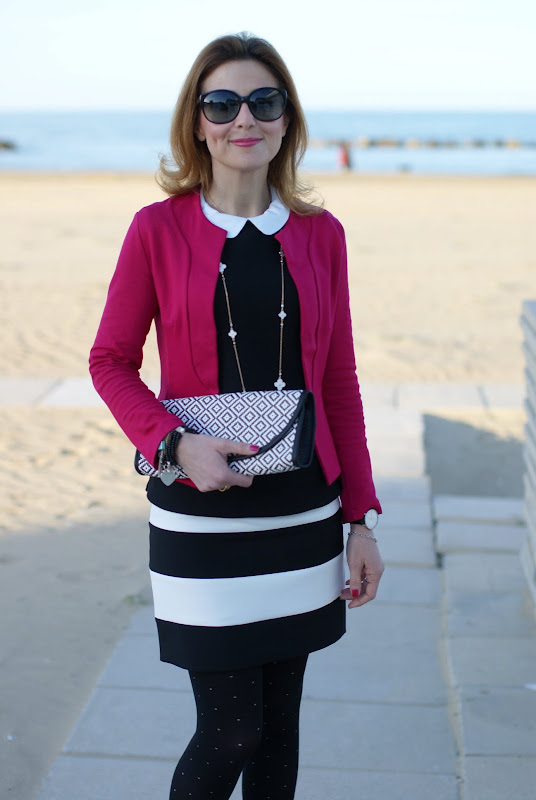 black and white striped Zara skirt, fuchsia jacket, Fashion and Cookies