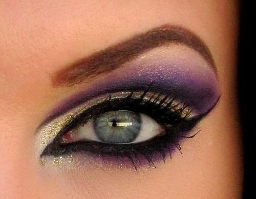 Purple and White Smokey Eye Makeup