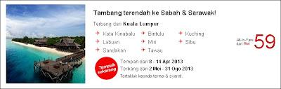 Tambang Terendah Ke Sabah Mei 2013