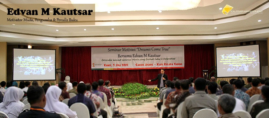 Motivator Muda Indonesia Edvan M Kautsar, Penulis, Pengusaha, Trainer, Pembicara Seminar