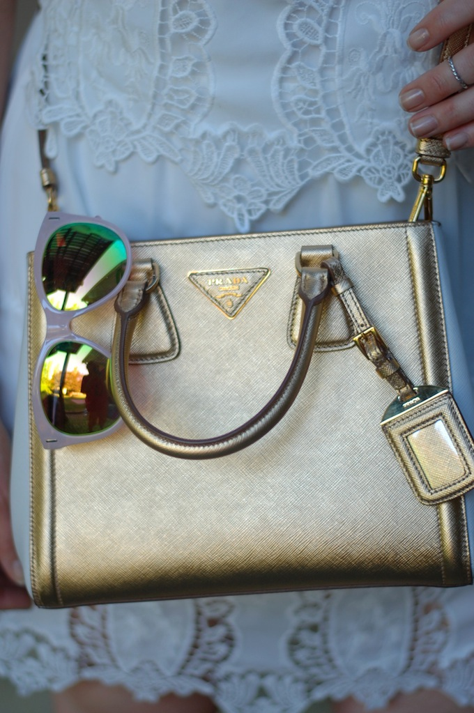 Gold bi-colour Saffiano Prada handbag
