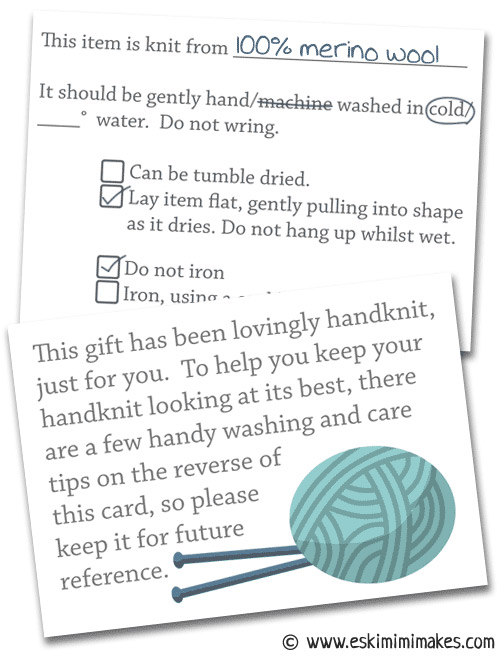 Knitting With Hands Instructions : Knitters gift tags with care instructions mimi codd