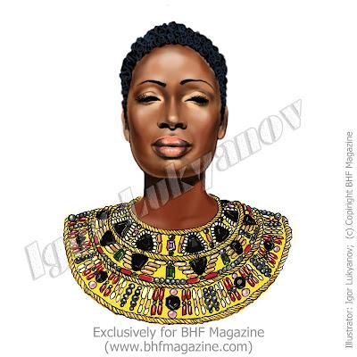 visage modèle couture Afrique (dessin de mode africaine)