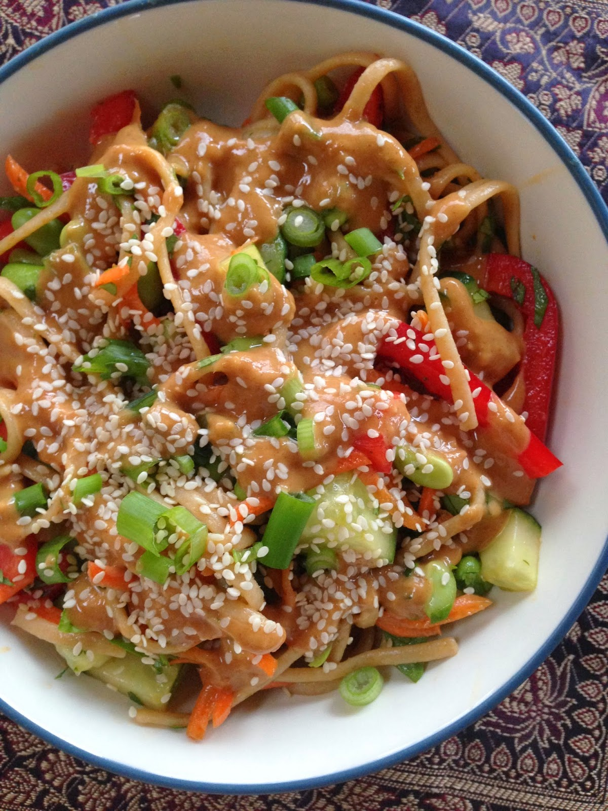 Thai Peanut Noodle and Veggie Bowl