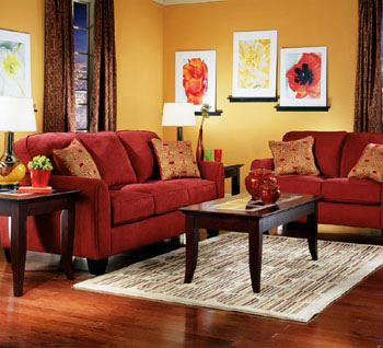 Life thoughts - Red gold and brown living room ...