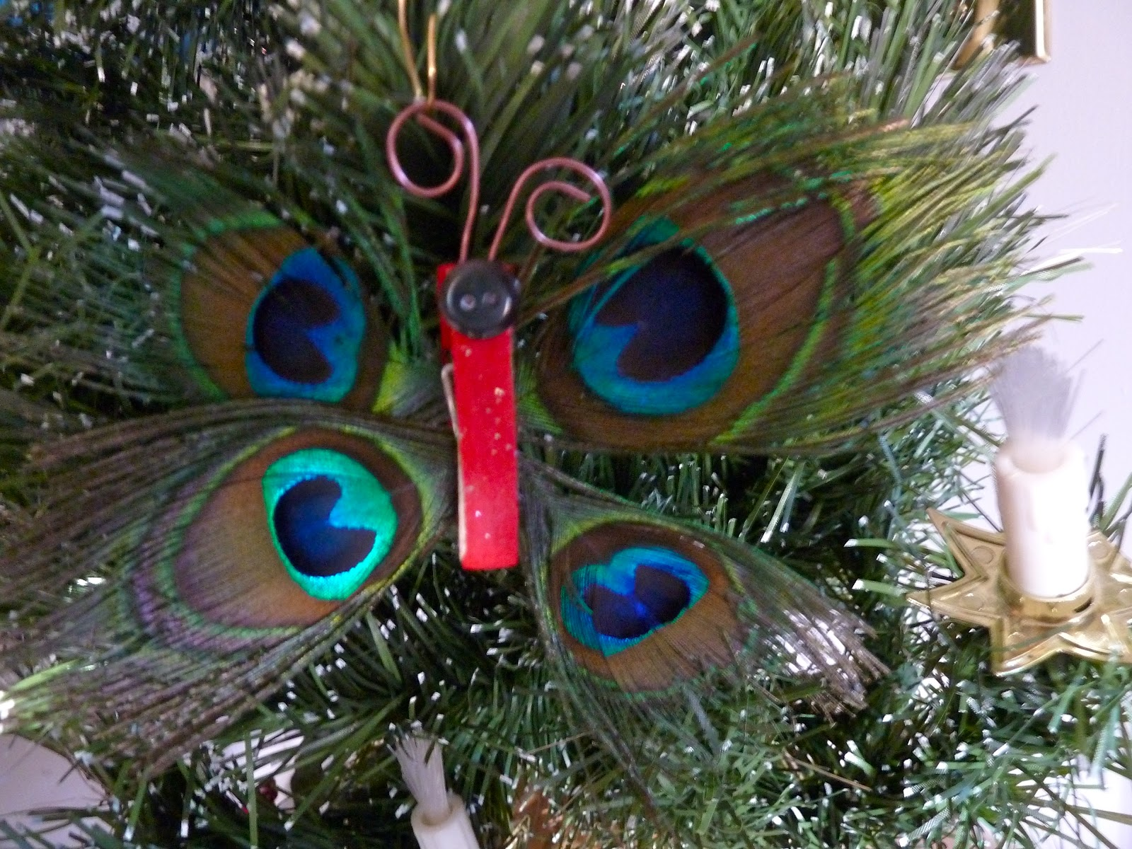 make it easy crafts peacock feather butterfly ornament
