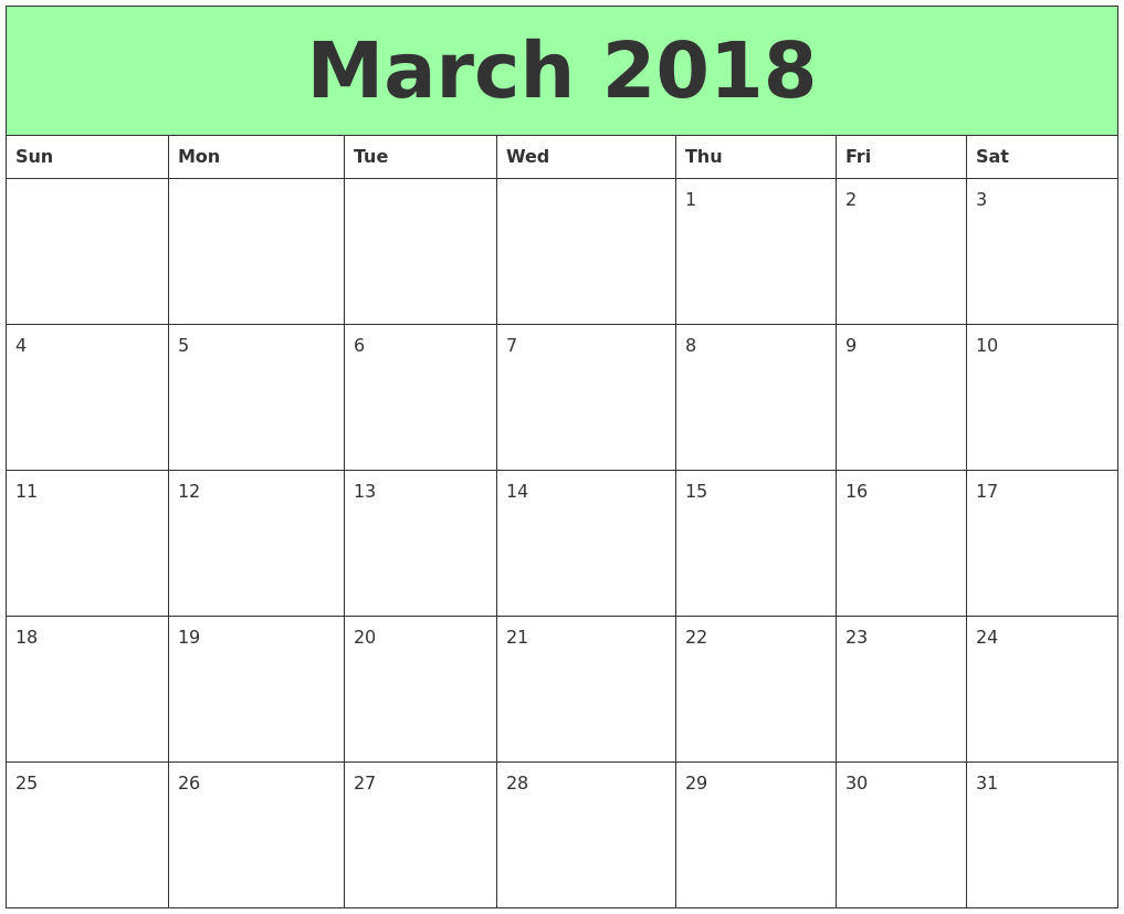 calendar 2018 monthly printable