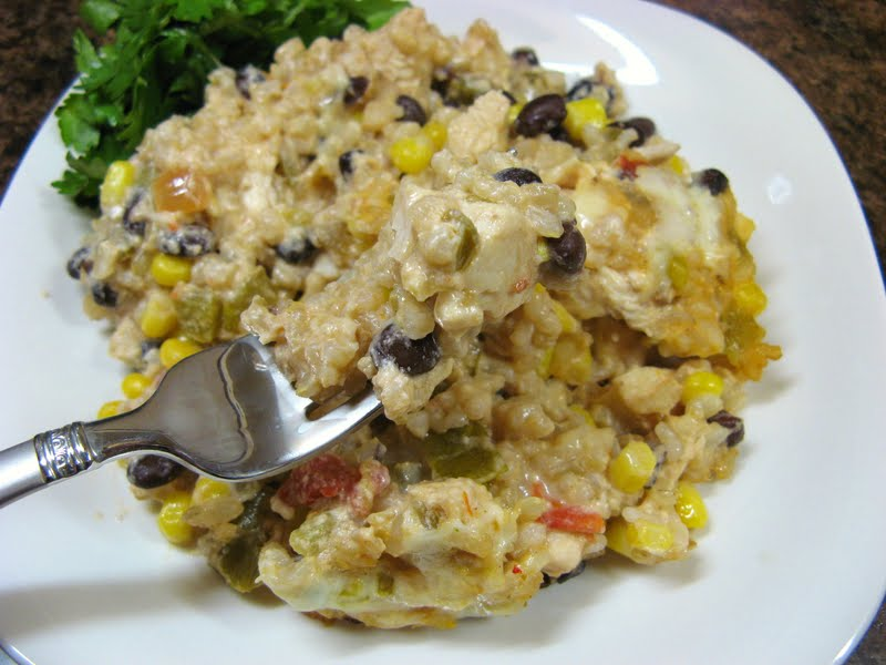 The Well-Fed Newlyweds: Tex-Mex Chicken and Rice Casserole