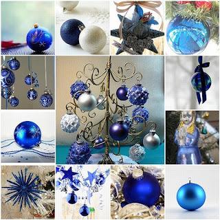 collage de bolas de navidad azules