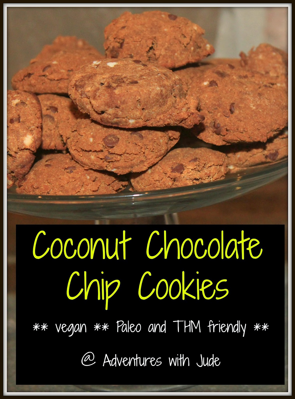 Coconut Chocolate Chip Cookies  vegan and Paleo, THM Friendly
