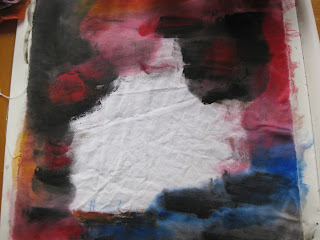 dark background painted with textile paints