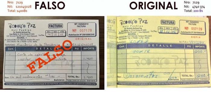 Rodolfo Paz aclara que factura por corte a Evo Morales es falsa