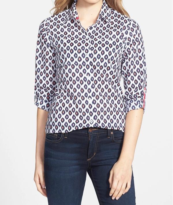 Foxcroft Ikat Print Cotton Shirt
