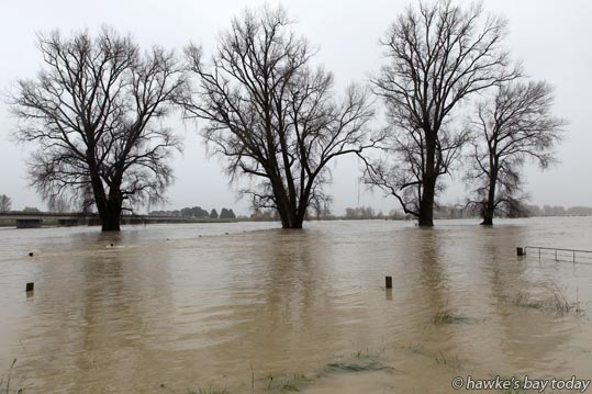Ngaruroro River broke its banks, by the Chesterhope Bridge, Pakowhai, near Hastings photograph