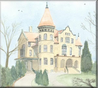 a watercolour painting by John W. Johnston from jwjonline.net; Holway House, La Crosse - a fine castle-style residence in La Crosse, Wisconsin