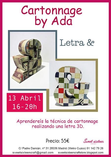 Taller monográfico Cartonnage Letra & en 3D en sweet sixteen craft store
